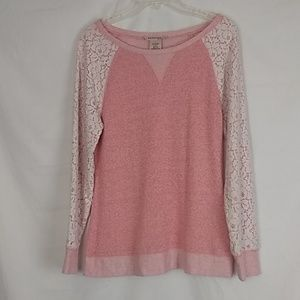 Philosophy pink lace sweater. Size Large